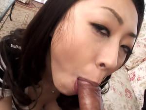 Cheating wife Ruri Hayami sucks a big dick with passion