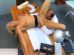 Sexy suspicious doctors wife has hot sex with him in his office
