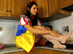 Sexy Snow White costume on a foot modeling hottie