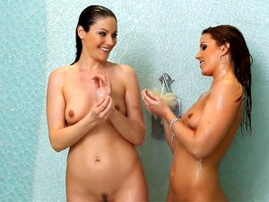 Hot Lesbians Get All Wet in the Shower