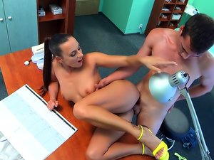 Kinky brunette Mea drilled at the office.