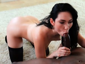 Ravishing raven-haired Aria takes BBC while wearing stockings.