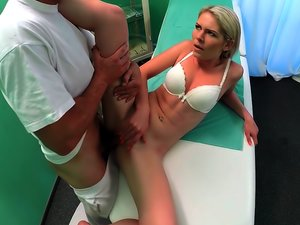 Dazzling blonde with small titties fucked by doctor,