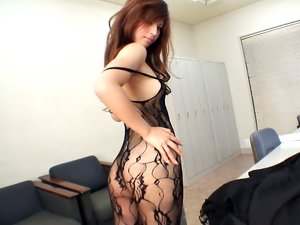 Asian in a sexy body stocking fucked in the cunt