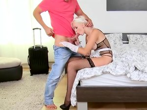 Slutty maid lingerie on a horny Euro girl