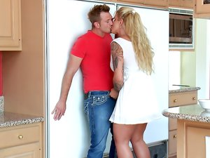 Tattooed Blonde Seduces her Son's Friend