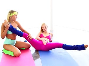 Yoga girls in spandex have lesbian sex