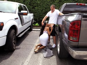 Ebony Beauty Blows and Bangs in the Parking Lot