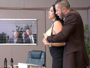 Busty Secretary Pleases her Boss