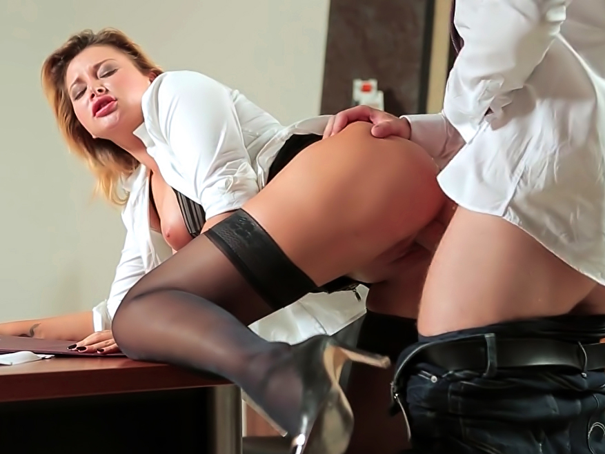 Stockings and heels secretary fucks the boss