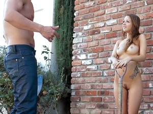 Cute Brunette Teen Seduces her Gardner