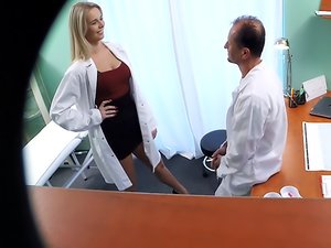 Dirty Doctor Nikky is getting pounded by a horny man in the clinic.