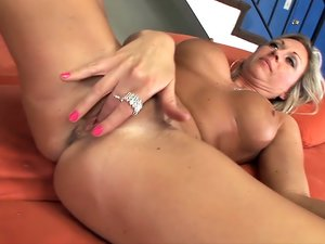 Busty Blonde MILF Bangs a Younger Stud