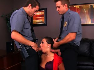 Cops and a busty slut have a rough threesome