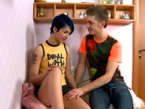 Blue haired emo cutie boned by a big dick