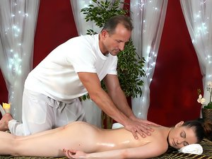 Oilled up babe gets a hot massage before an intense fuck.