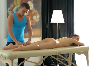 Sweet Lina gets oil massage and a cock in her asshole.