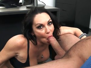 Busty MILF Dayton Rains riding cock while wearing stockings.