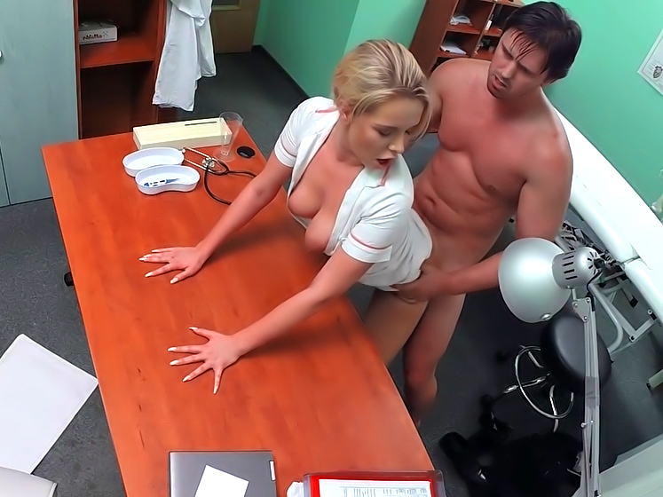Naughty Blonde Nurse Bangs a Patient