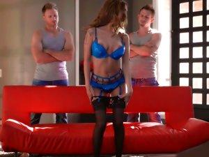 Lingerie babe Kat Dior fucks two horny guys