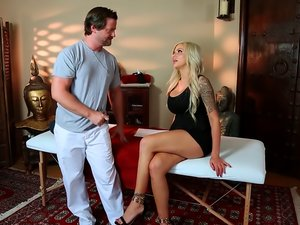 Blonde milf Nina Elle fucks her horny masseur
