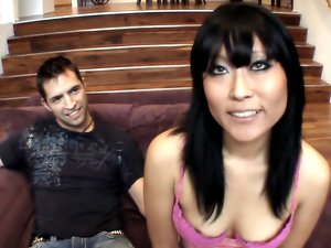 Seductive Asian Gets a Big White Dick