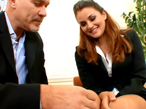 Business cutie Allie Haze fucks an older guy