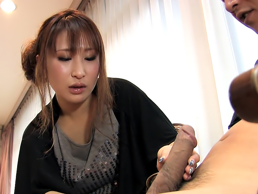 Slow cock stroking from the cute Japanese girl