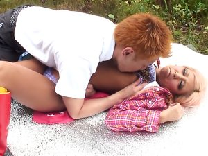 Finger fucked Japanese babe on a blanket