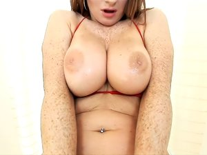 Freckled redhead in knee highs wants to fuck