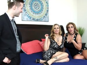 Milfs make his fantasies come true in a threeway