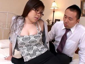 Busty Japanese babe in Galsses Fucks
