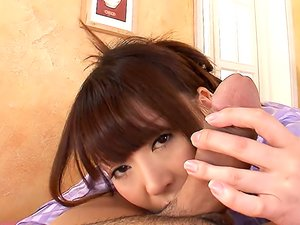 Cocksucking Japanese girl Jun Kusanagi works him