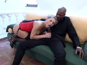 Hottie in a corset ass fucked by big black cock