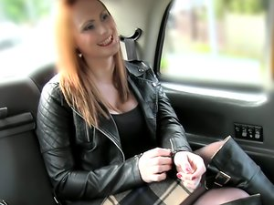 Curvy teen gets a free cab ride for sucking and riding cock.