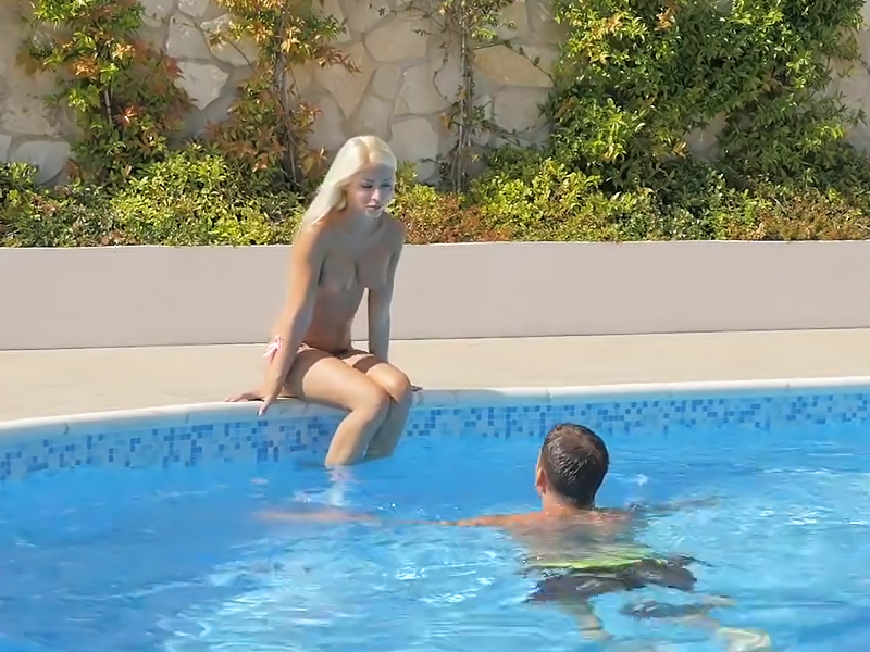 Blonde goddess Chloe Lacourt drilled by the poolside.