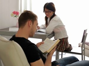 Cute Teen In Glasses Gets Drilled