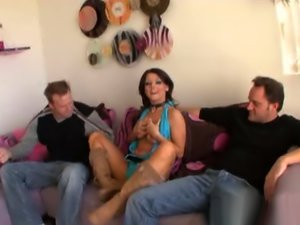 Sophie Dee threesome with a DP