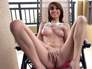Young cutie Cece Capella rides dick outdoors