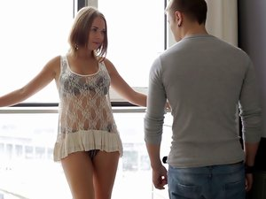 Romantic white lingerie on his horny teen lover