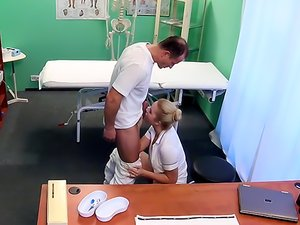 Blonde nurse goes down on patient and gets fucked by him.