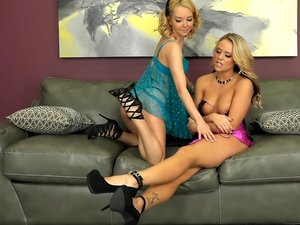 Blonde angels Aaliyah and Alexis go down on each other.