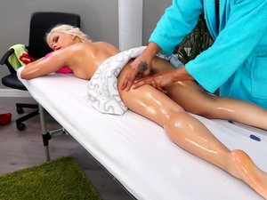 Oiled up massage for kinky blonde Lana Sweet.