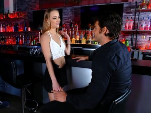 Skinny Sadie Blair gets a creampie after having sex in a bar.
