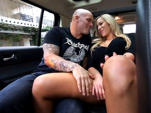 Hot MILF Olivia Austin chokes on fat cock and rides it inside a car.