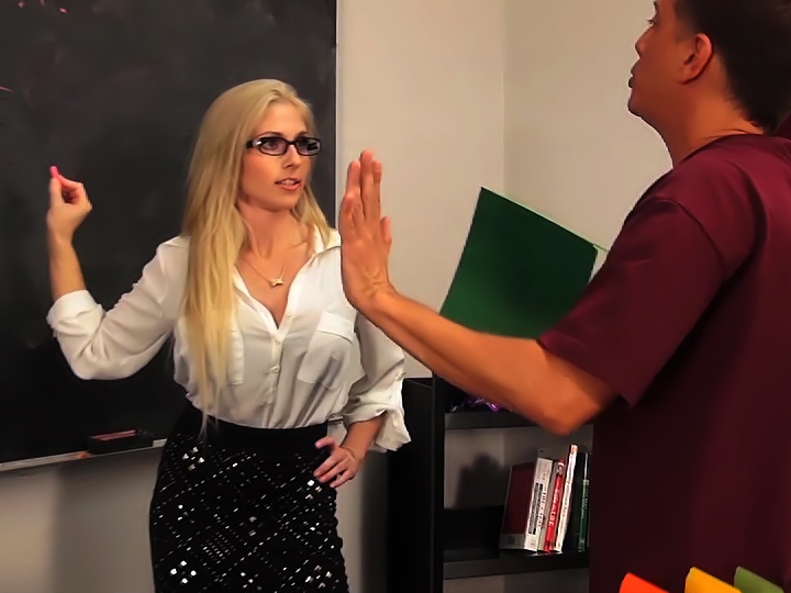 MILF bombshell Christie Stevens takes cock in the classroom.