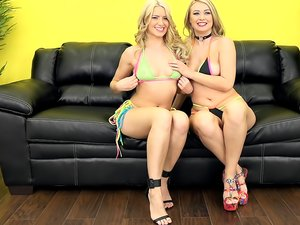 Attractive blondes Anikka Alkrite and Natalia Starr play with sex toys.