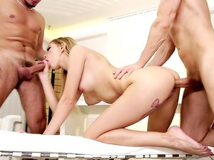 Blonde tramp and Brunette skank get pounded by two studs.