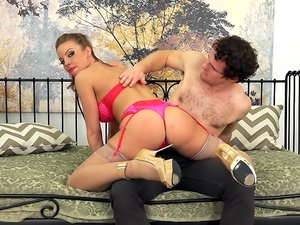 Big titty tramp Britney Amber shows off her lingerie before hot sex.