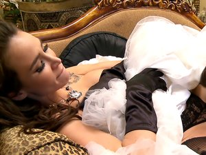 Sandee Westgate enjoying cock while wearing stockings.